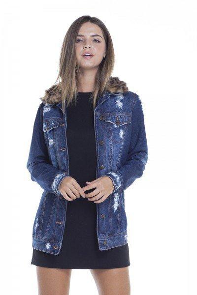 dz9098 jaqueta feminina oversize gola com pelos frente crop denim zero
