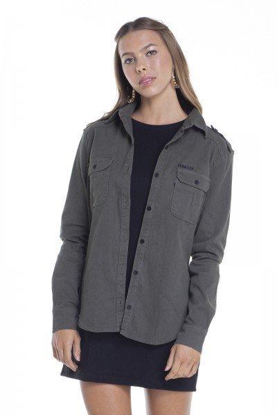 dz11140 camisa jeans feminina com elastano cor musgo frente crop denim zero