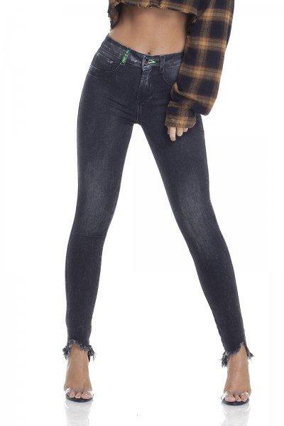 dz2933 calca jeans skinny media detalhe neon frente crop denim zero