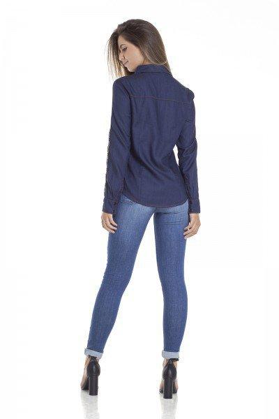 a194273aa6 ... dz11139 camisa solta jeans com listra na manga costas denim zero