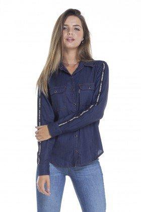 dz11139 camisa solta jeans com listra na manga frente crop denim zero