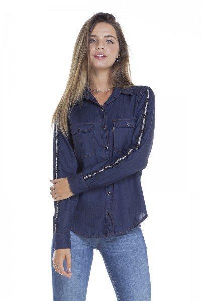 76a6ca7d65 dz11139 camisa solta jeans com listra na manga frente crop denim zero