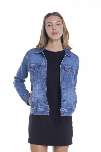 dz9097 jaqueta jeans feminina regular com bordado frente crop denim zero