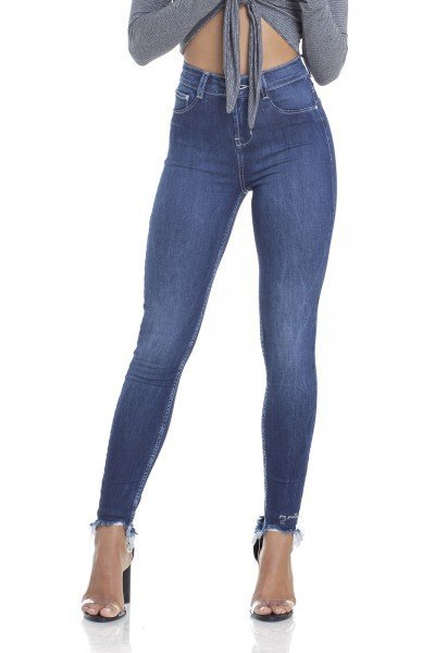 dz2937 calca jeans skinny media cigarrete com bordado frente crop denim zero