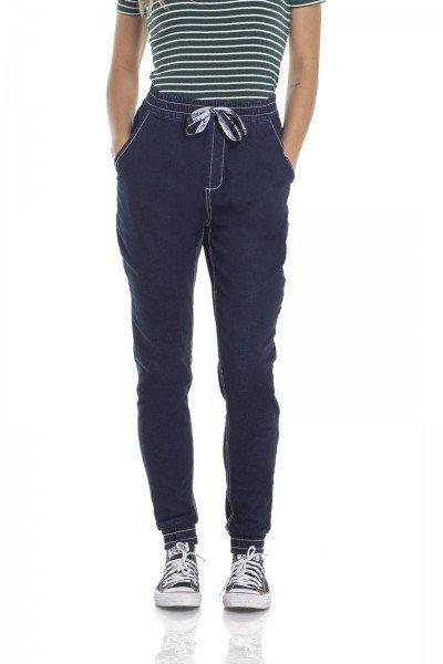 dz2956 calca jeans jogger com cordao frente crop denim zero