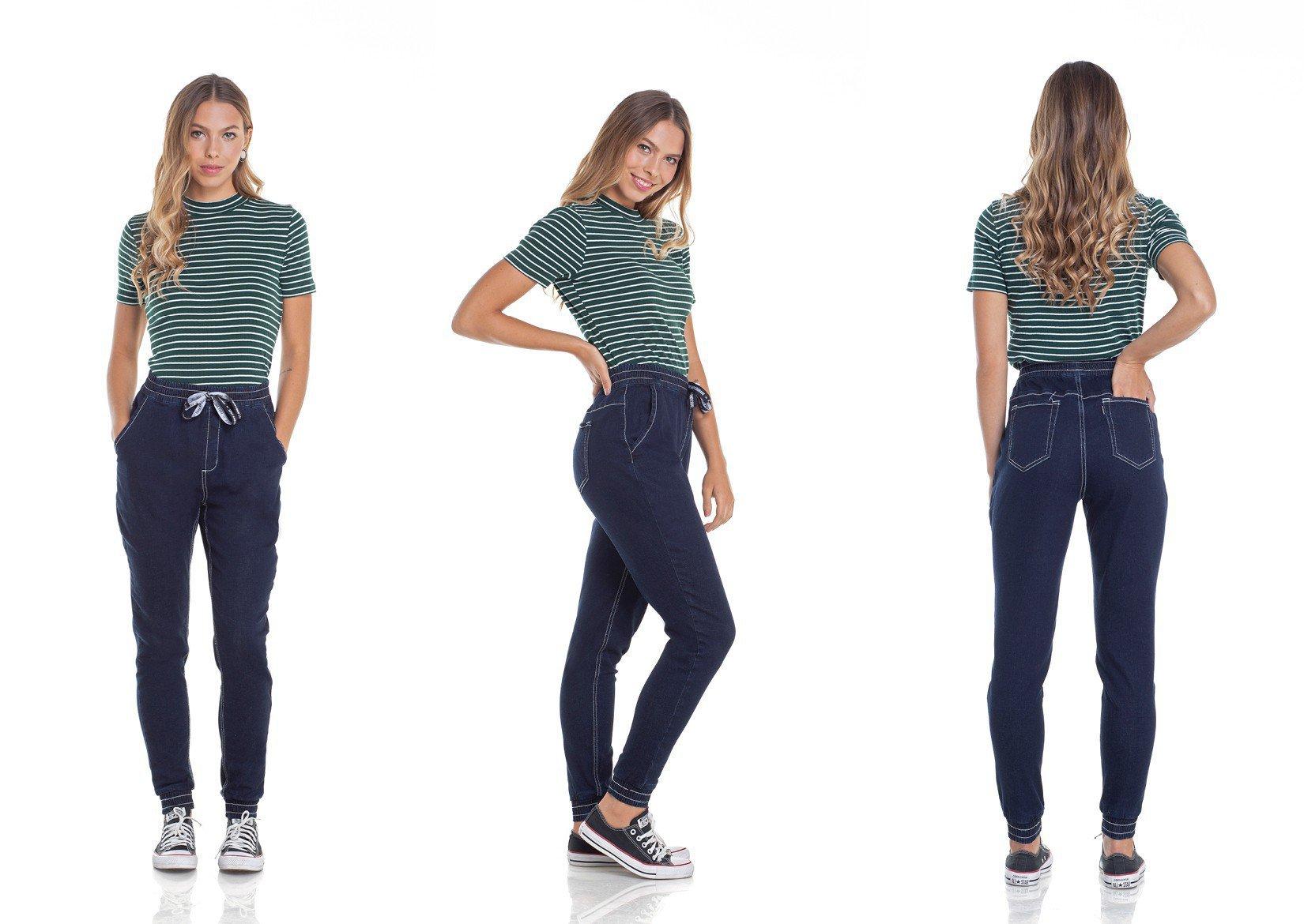 dz2956 calca jeans jogger com cordao tripla denim zero