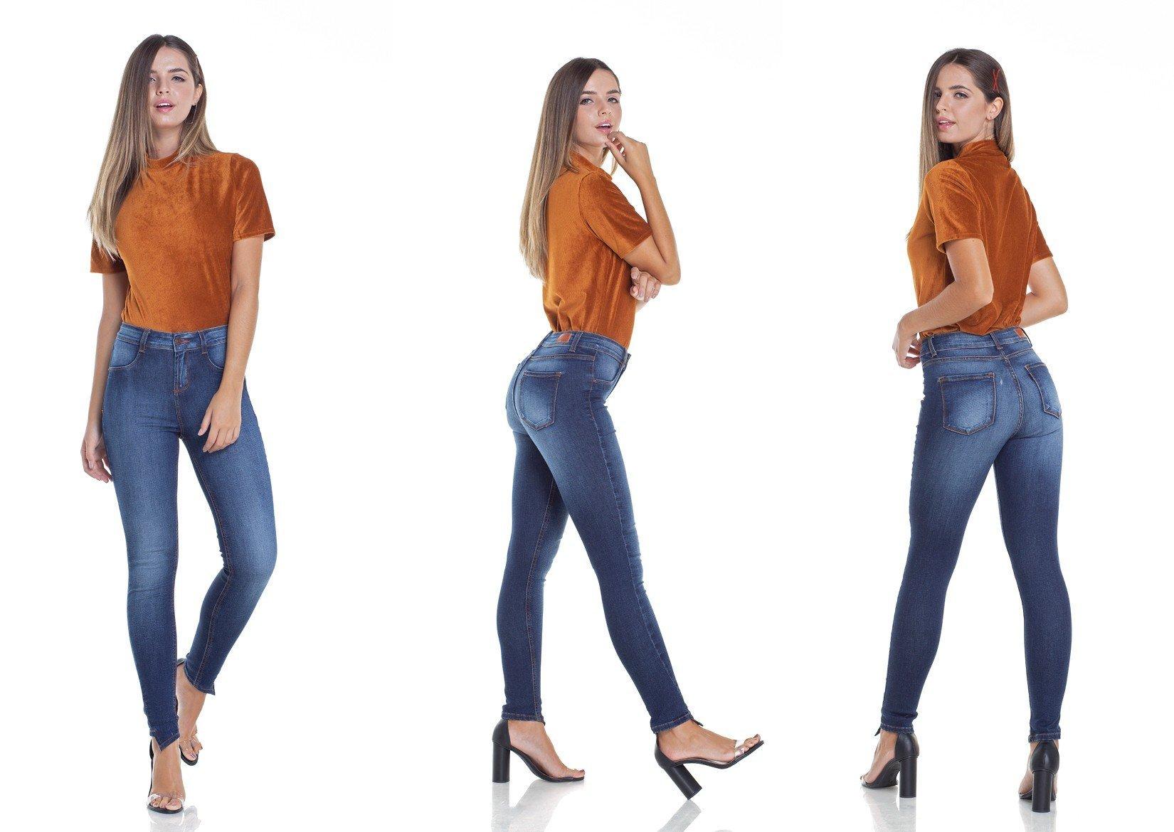 dz2941 calca jeans skinny media cigarrete barra diferenciada tripla denim zero