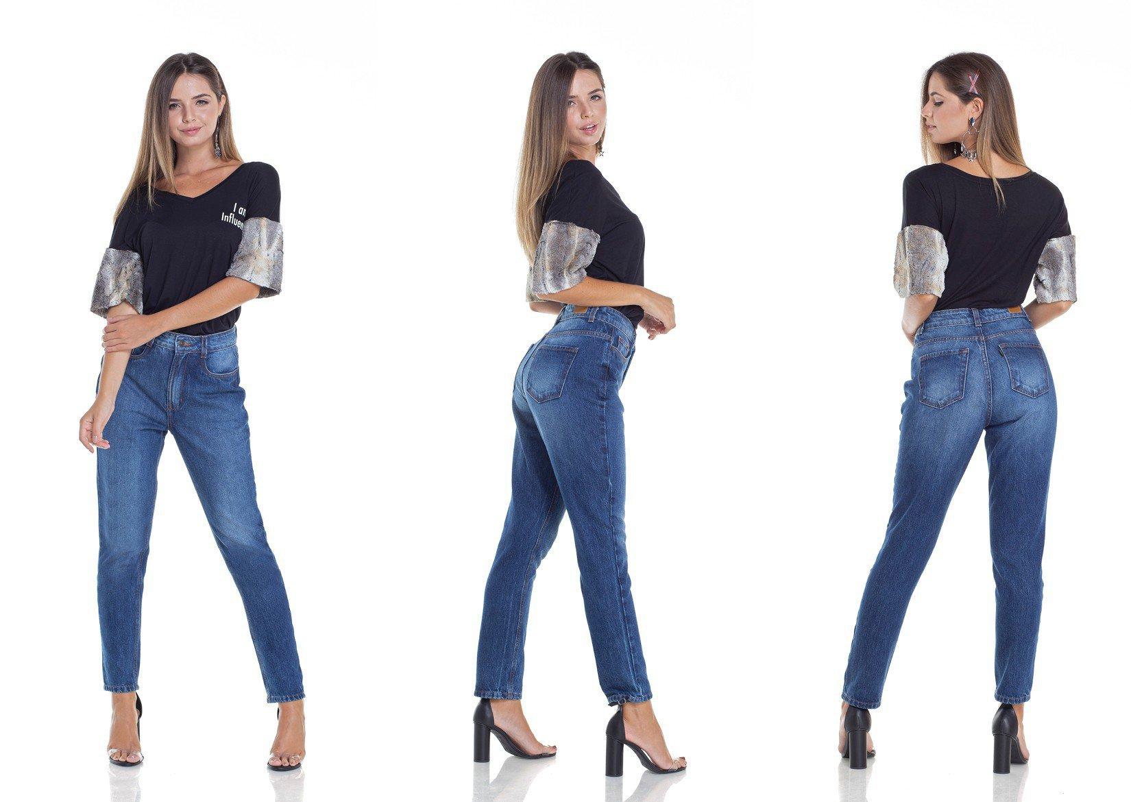 dz2953 calca jeans mom cintura alta tripla denim zero