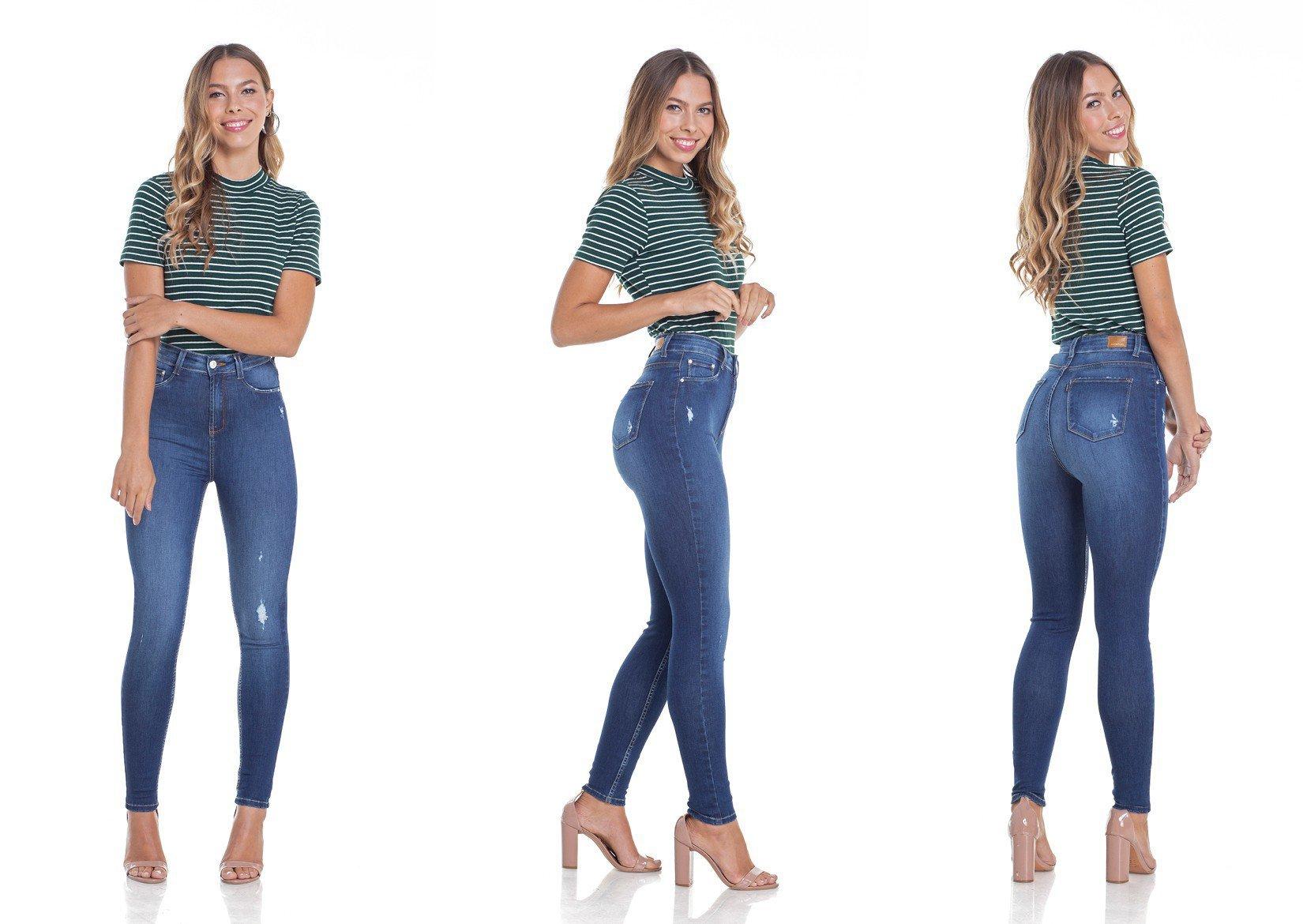 dz2952 calca jeans skinny cintura alta tripla denim zero