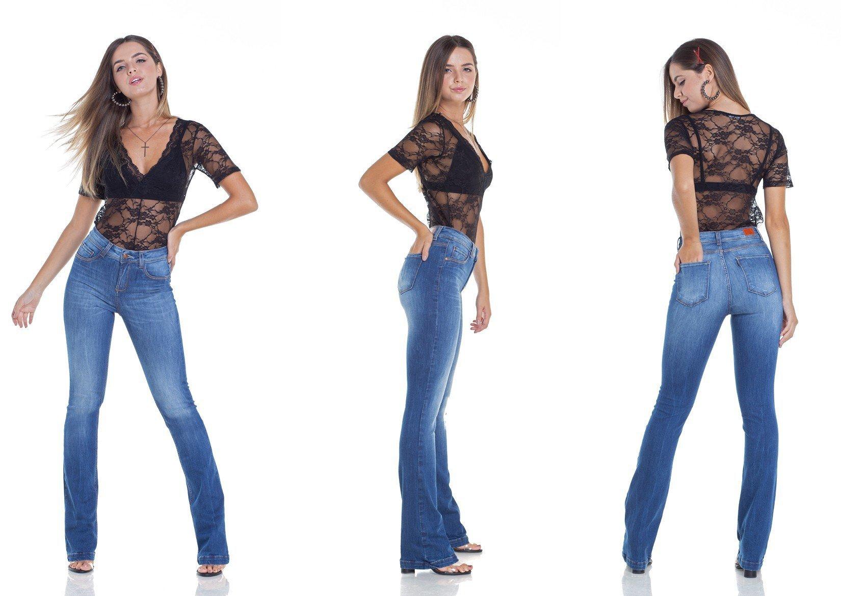dz2946 calca jeans boot cut com bigodes tripla denim zero