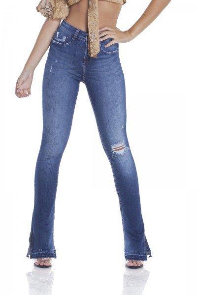 dz2948 calca jeans new boot cut com rasgos e bigodes frente crop denim zero