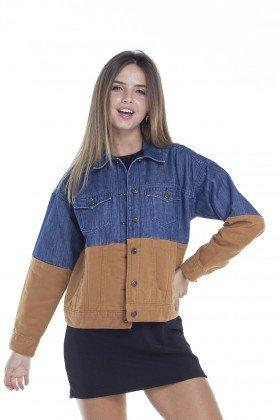 dz9093 jaqueta feminina retro com recortes frente crop denim zero