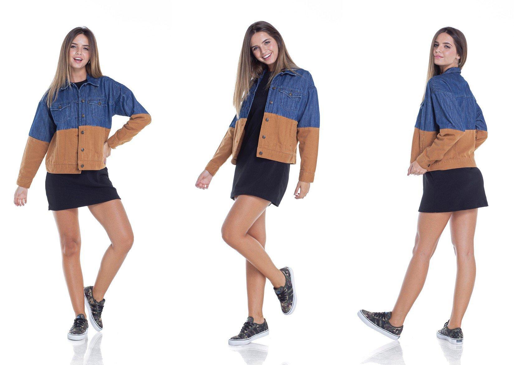 dz9093 jaqueta feminina retro com recortes tripla denim zero