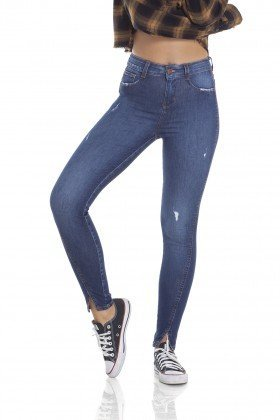 dz2906 calca jeans skinny media cigarrete com puidos frente crop denim zero