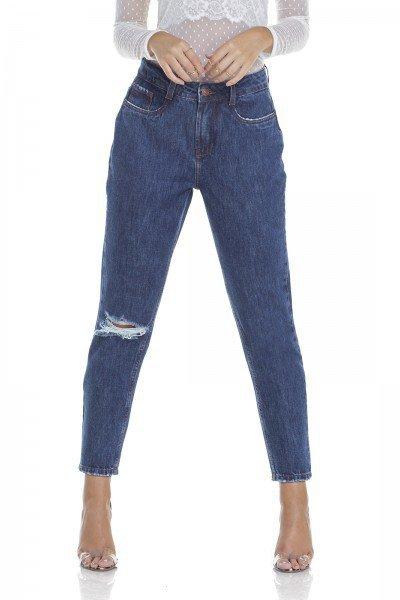 dz2923 calca jeans mom com rasgo frente crop denim zero