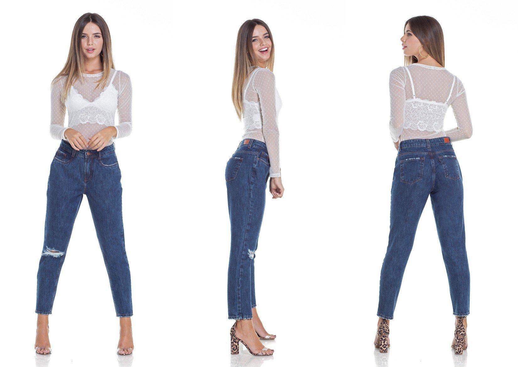 dz2923 calca jeans mom com rasgo tripla denim zero