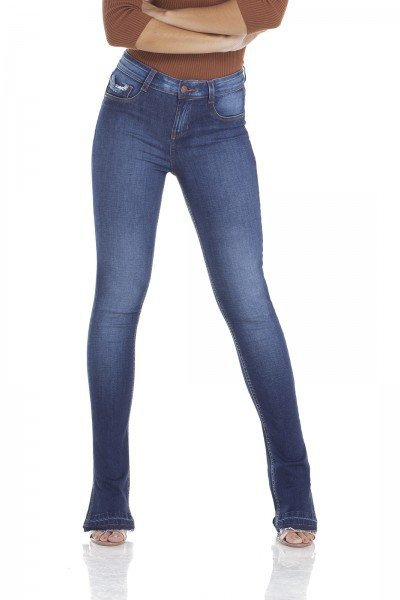 dz2927 calca jeans new boot cut com fenda frente crop denim zero