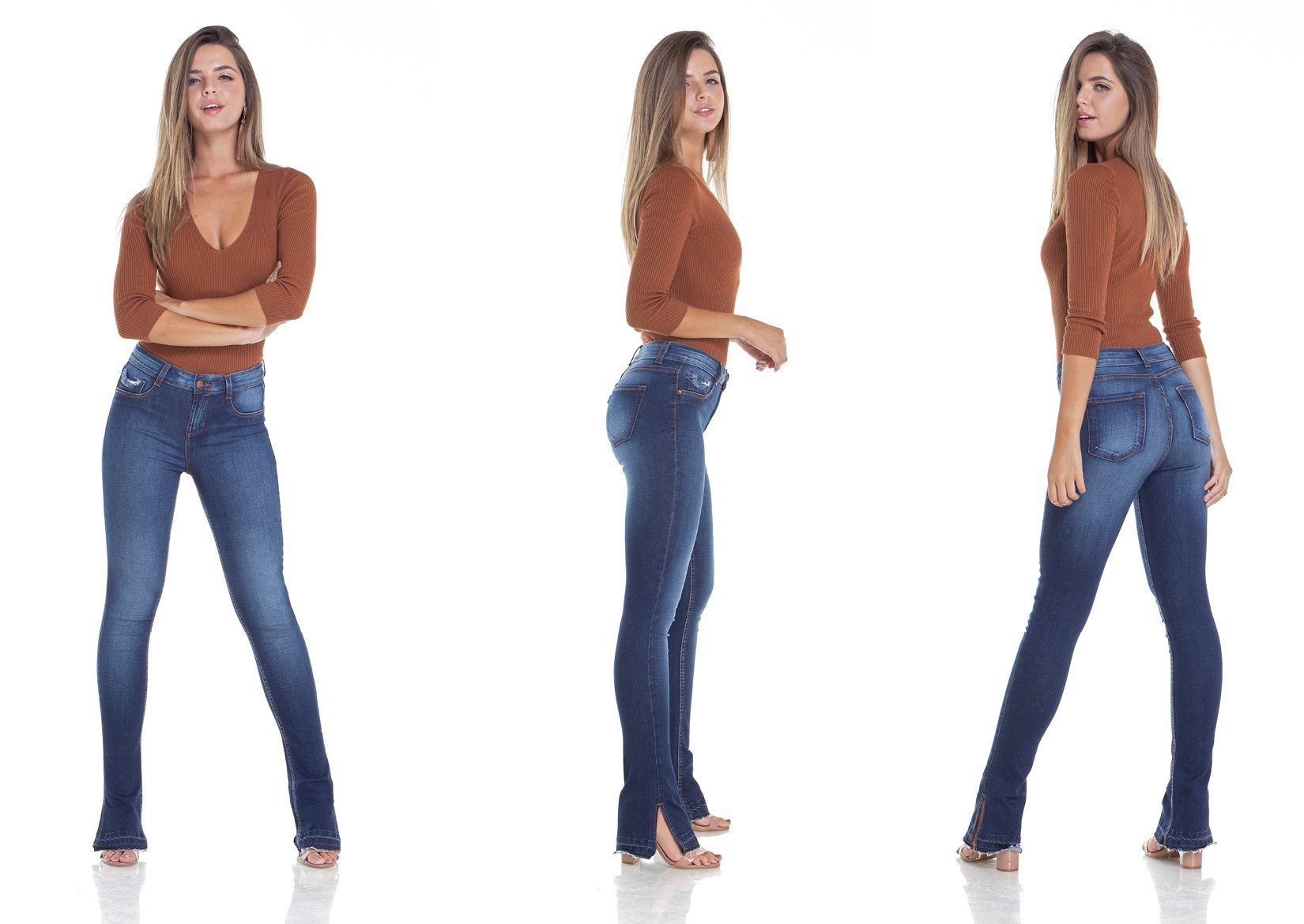 dz2927 calca jeans new boot cut com fenda tripla denim zero