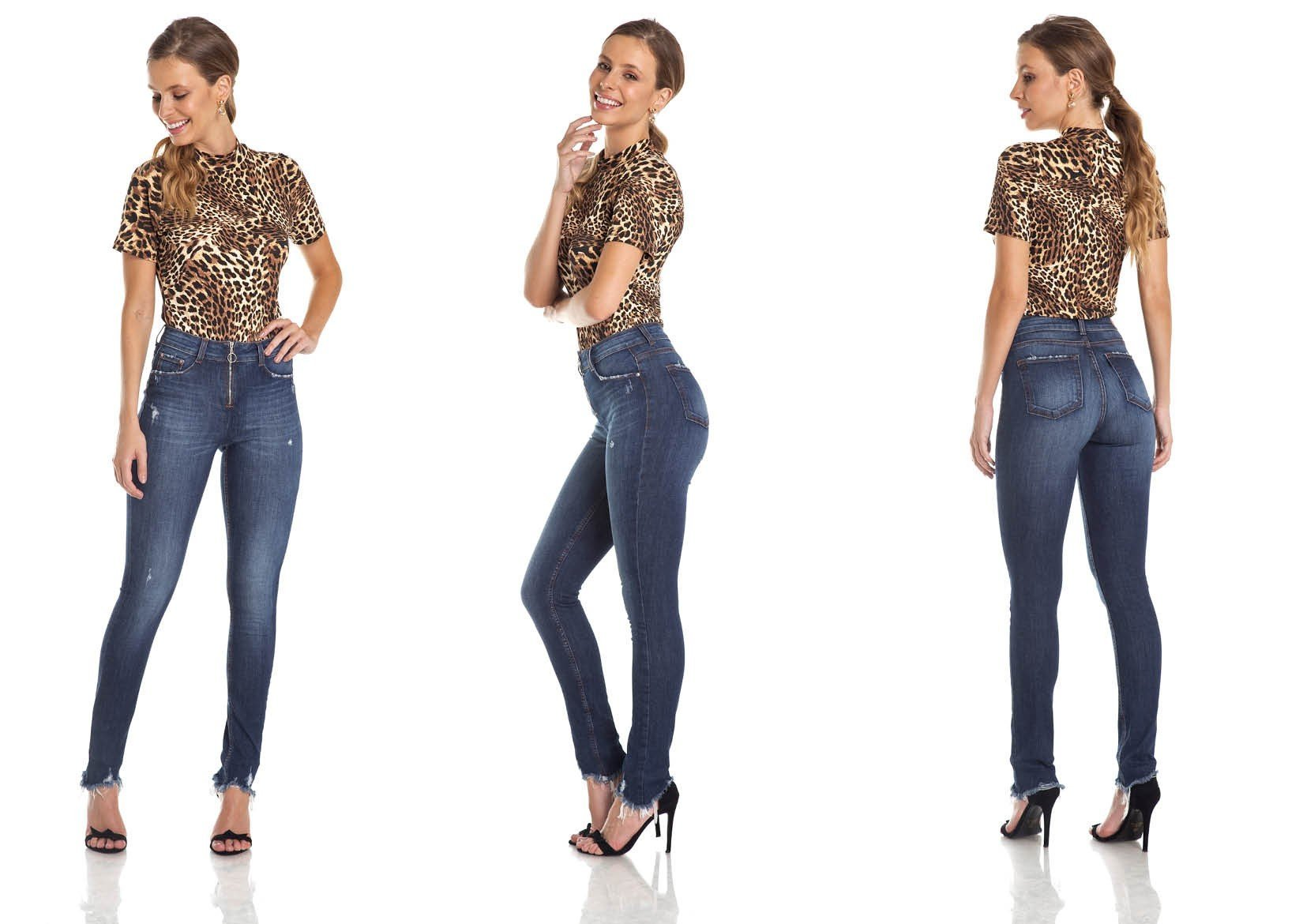dz2969 calca skinny media ziper frontal trio denim zero