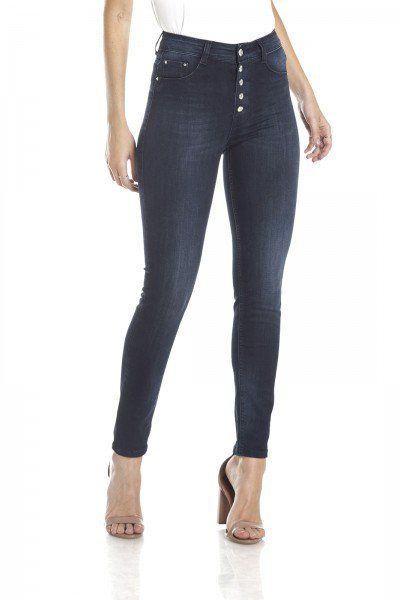 dz2971 calca skinny media cigarrete 5 botoes frente crop denim zero