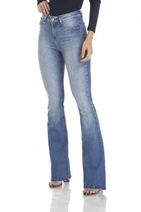 dz2983 calca flare media clarinha frente crop denim zero