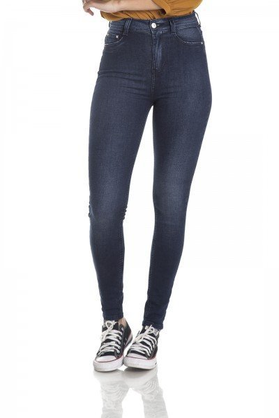 dz2985 calca skinny hot pants escura frente crop denim zero