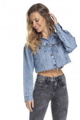 dz9101 jaqueta retro cropped desfiado frente crop denim zero