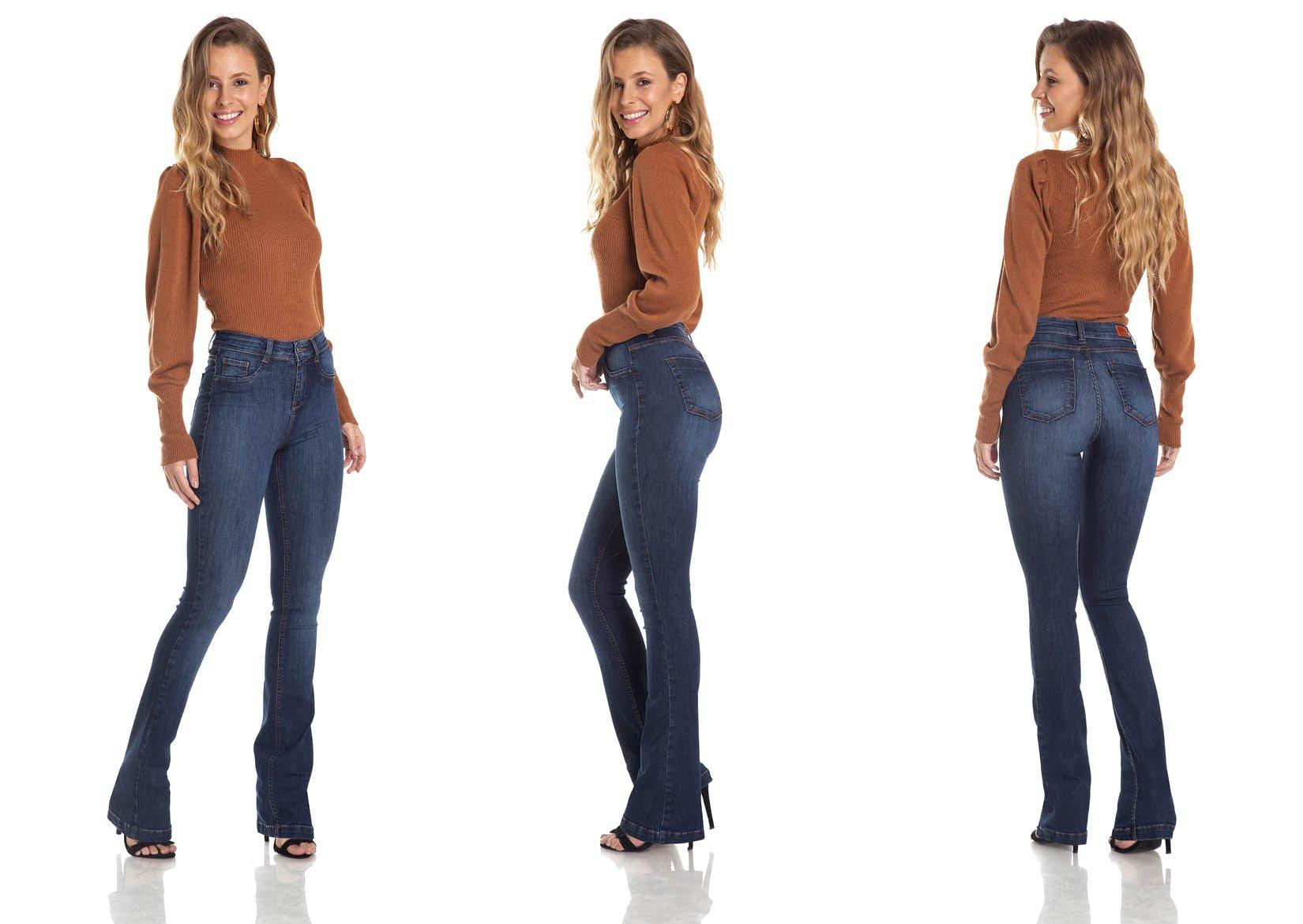 dz2957a calca boot cut media classica jeans escuro trio denim zero