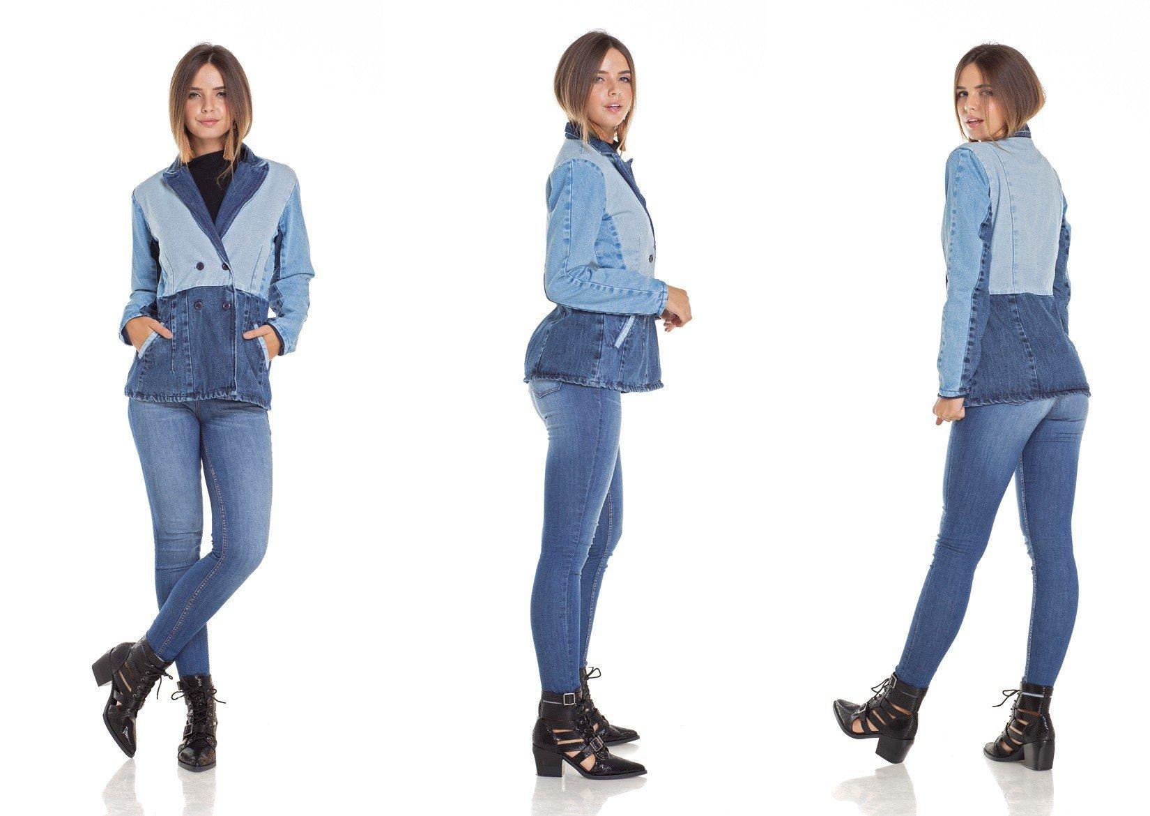 dz9094 blazer jeans feminino alongado tripla denim zero