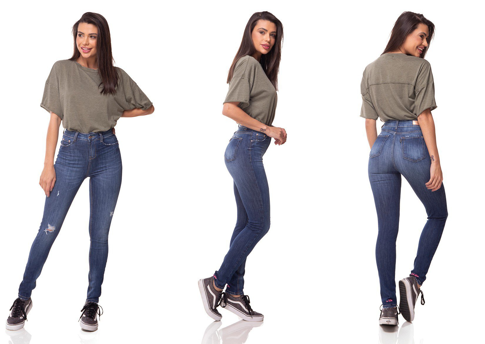dz3053 calca jeans skinny media cigarrete com puidos denim zero tripla