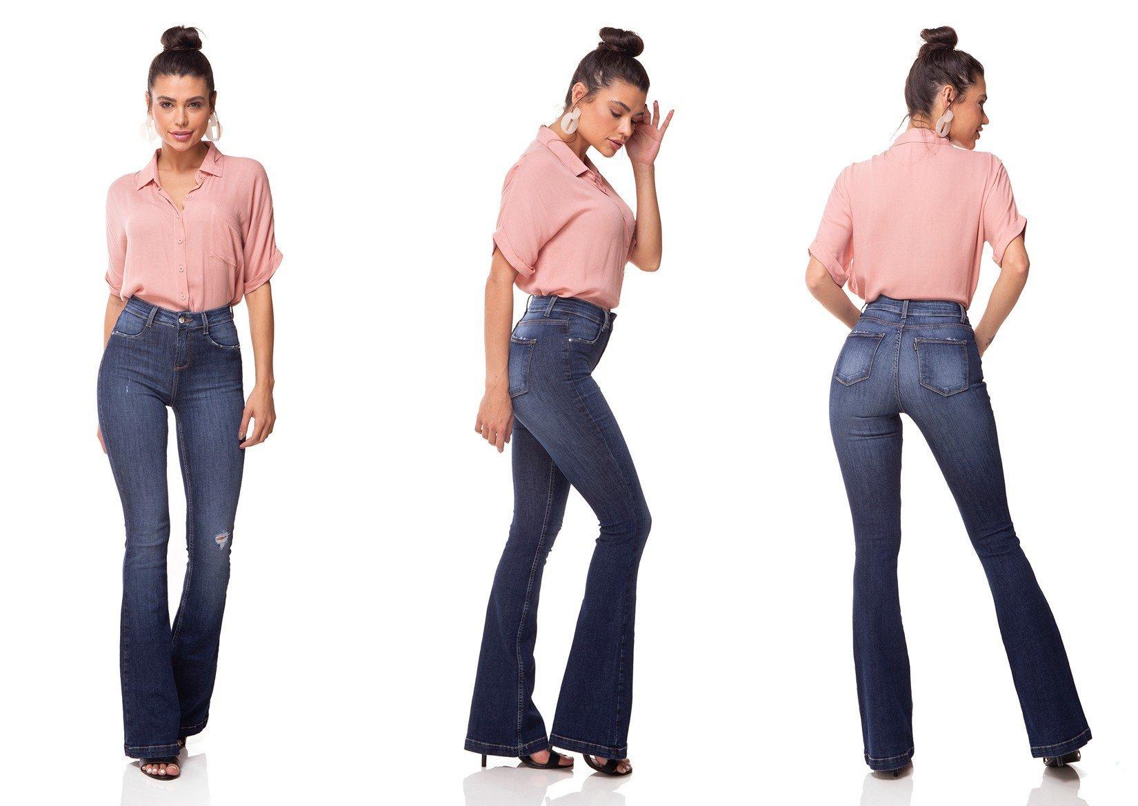 dz3064 calca jeans flare media estonada denim zero tripla