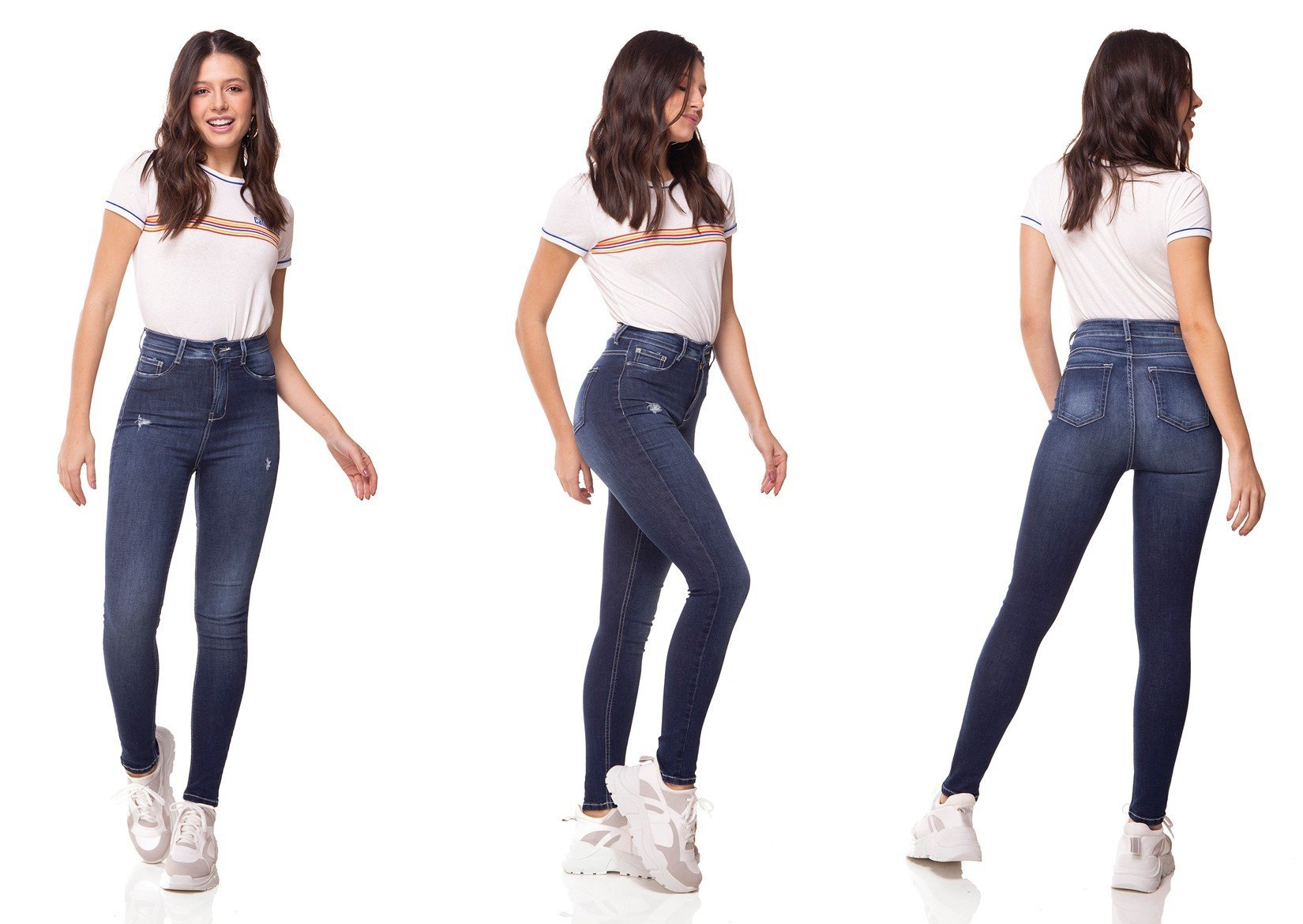 dz3065 calca jeans skinny cintura alta hot pants cigarrete denim zero tripla