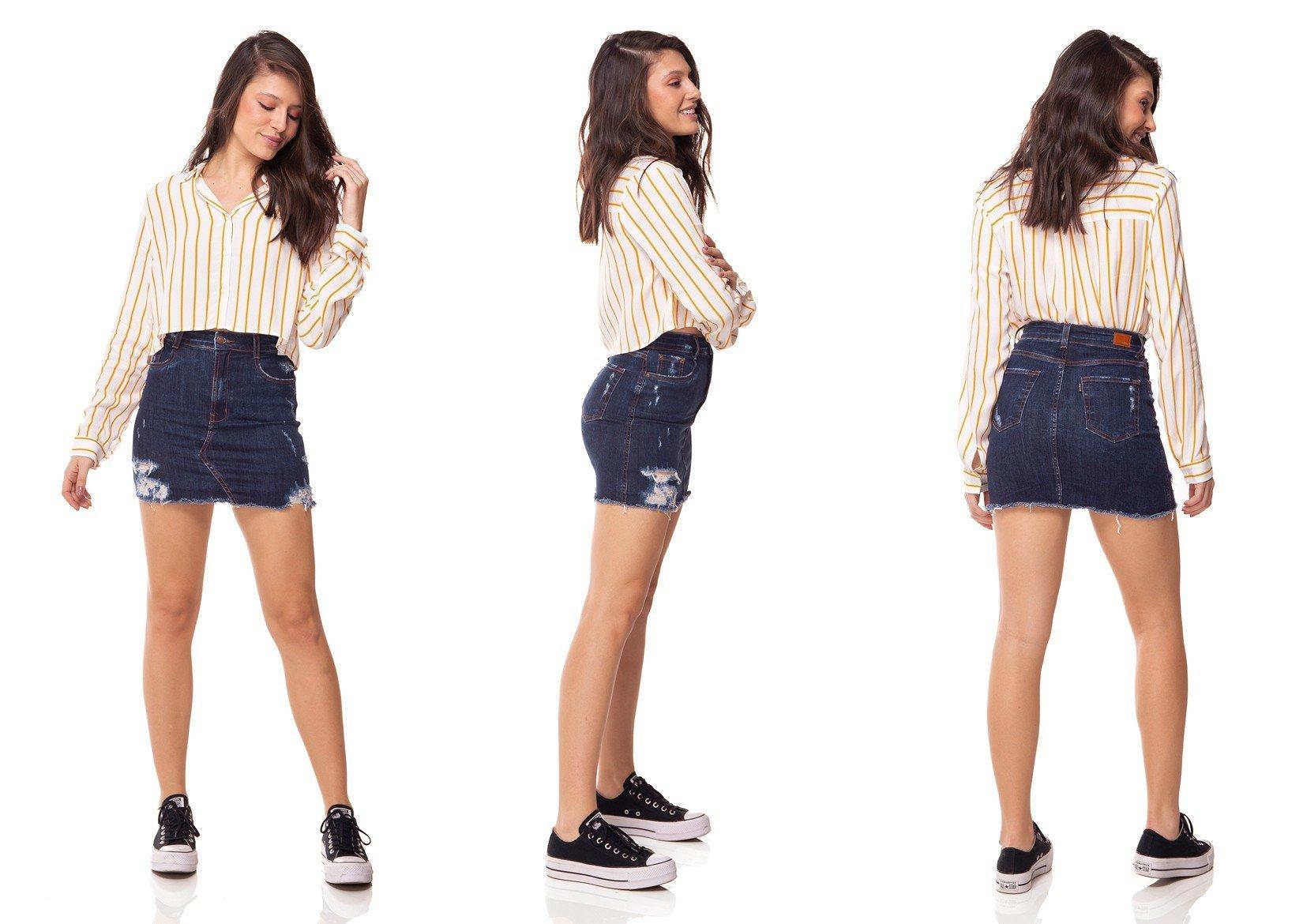 dz7097 saia jeans tubinho escura com puidos denim zero tripla