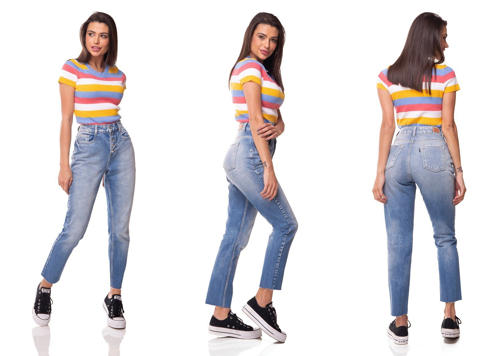 dz3068 calca jeans mom abertura com botoes denim zero tripla