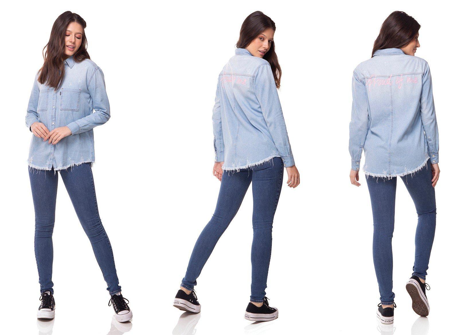 dz11142 camisa jeans oversize clara denim zero tripla