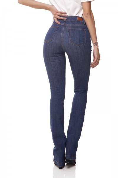 dz3069 b calca jeans boot cut media jeans escuro denim zero costas prox