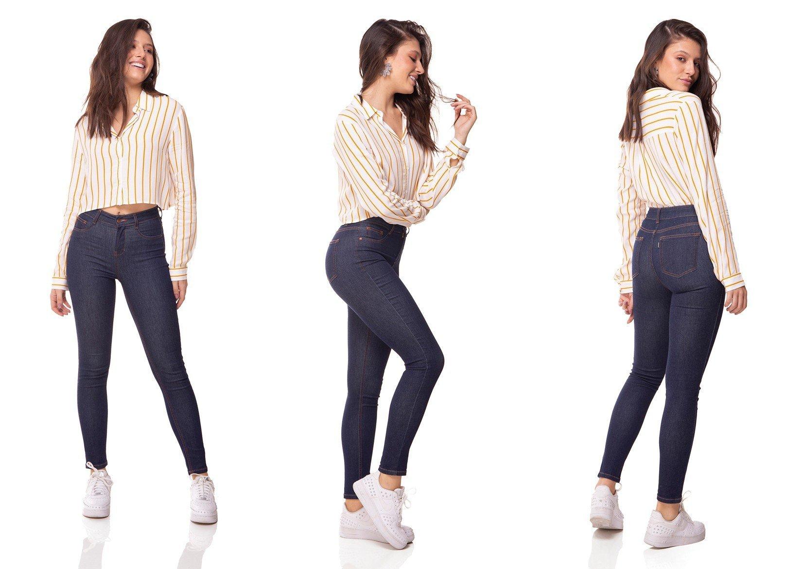 dz3072 calca jeans skinny media cigarrete escura denim zero tripla