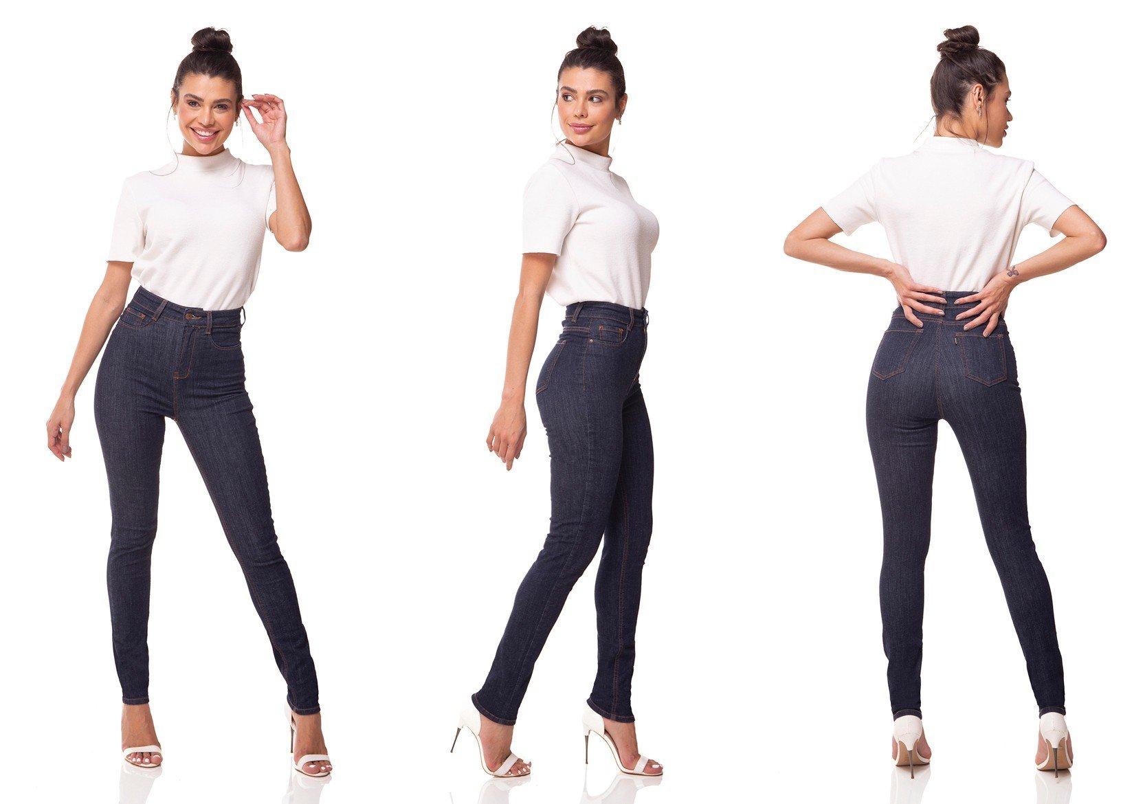 dz3074 calca jeans skinny cintura alta hot pants escura denim zero tripla