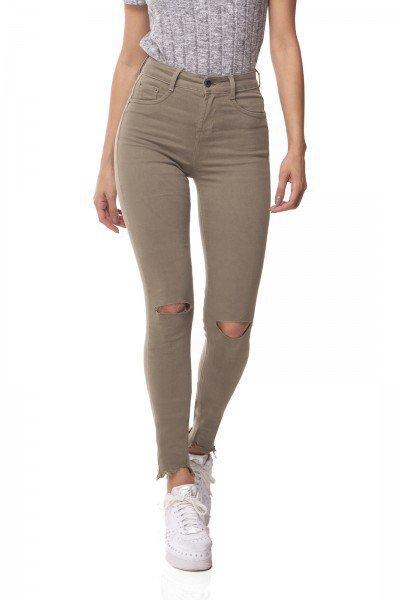 dz3078 a calca jeans skinny media com rasgo no joelho verde militar denim zero frente 01 prox