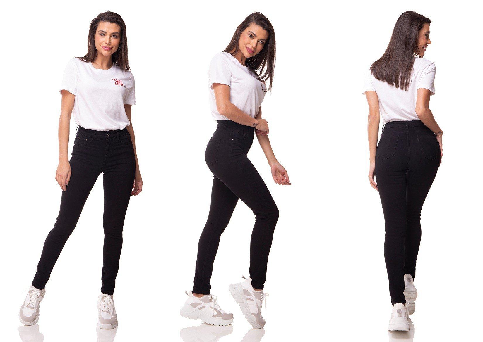 dz3079 calca jeans skinny media cigarrete preto denim zero tripla