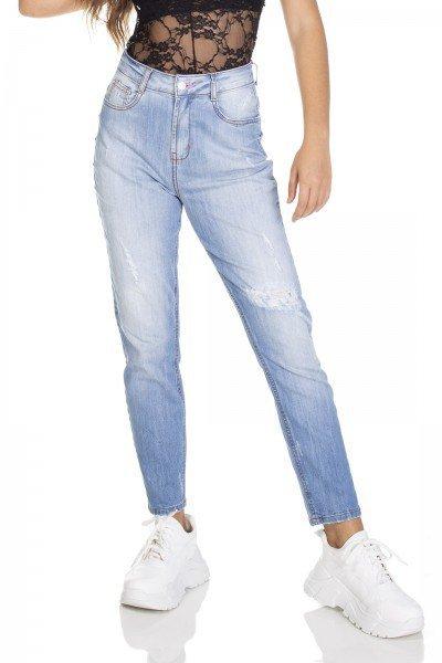 dz3067 calca jeans feminina mom fit com rasgo denim zero frente 03 prox