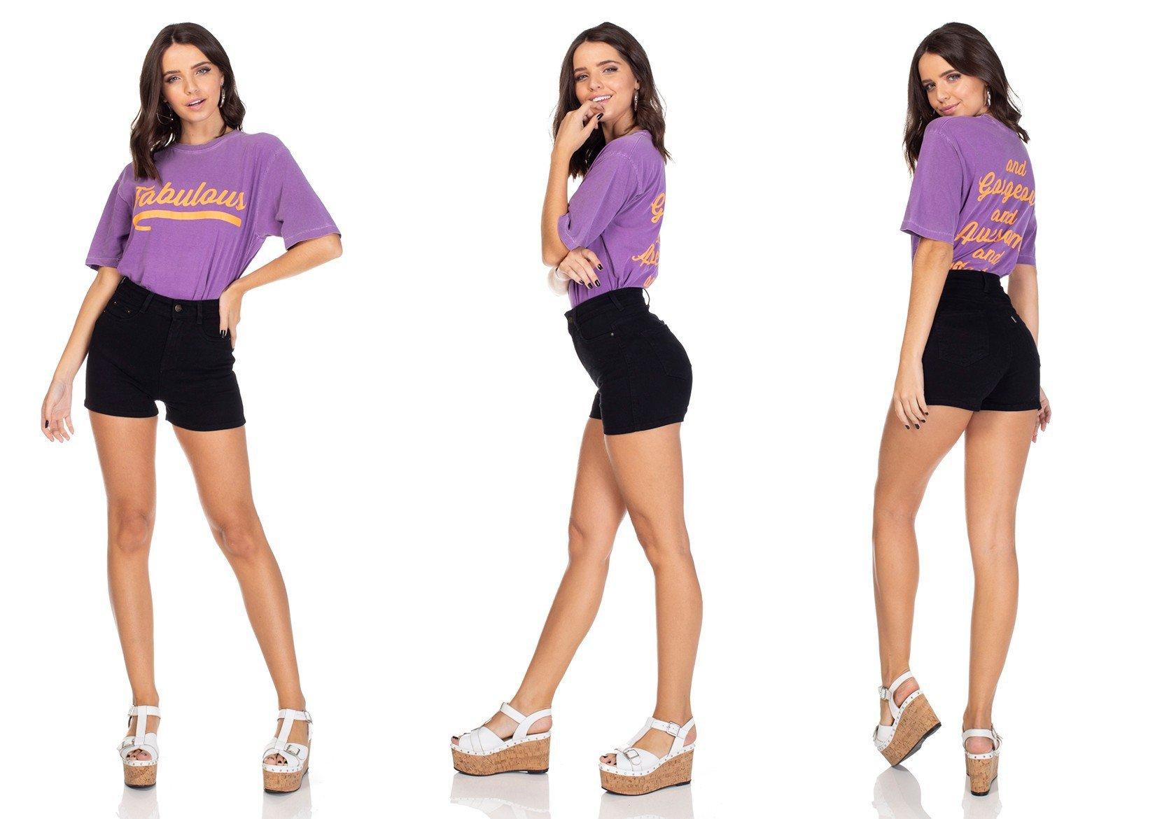 dz6313 shorts jeans pin up preto denim zero tripla