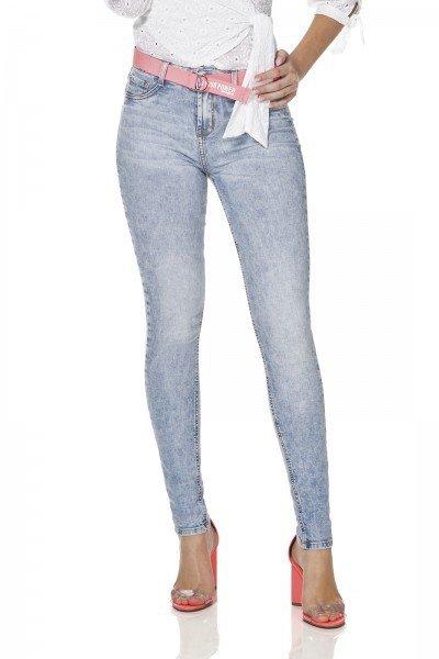 dz3086 calca jeans feminina skinny media com cinto denim zero frente prox