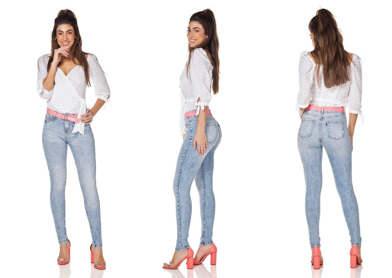 dz3086 calca jeans feminina skinny media com cinto denim zero tripla