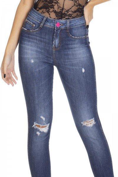 dz3100 calca jeans skinny media cigarrete com rasgo denim zero frente detalhe