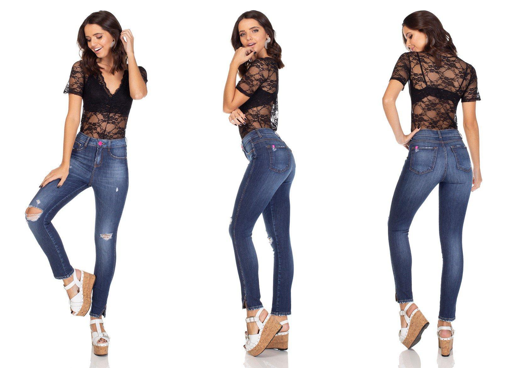 dz3100 calca jeans skinny media cigarrete com rasgo denim zero tripla