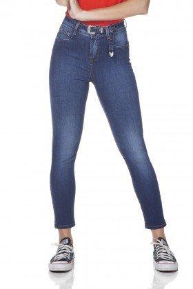 dz3102 calca jeans feminina skinny cropped media com cinto denim zero frente prox
