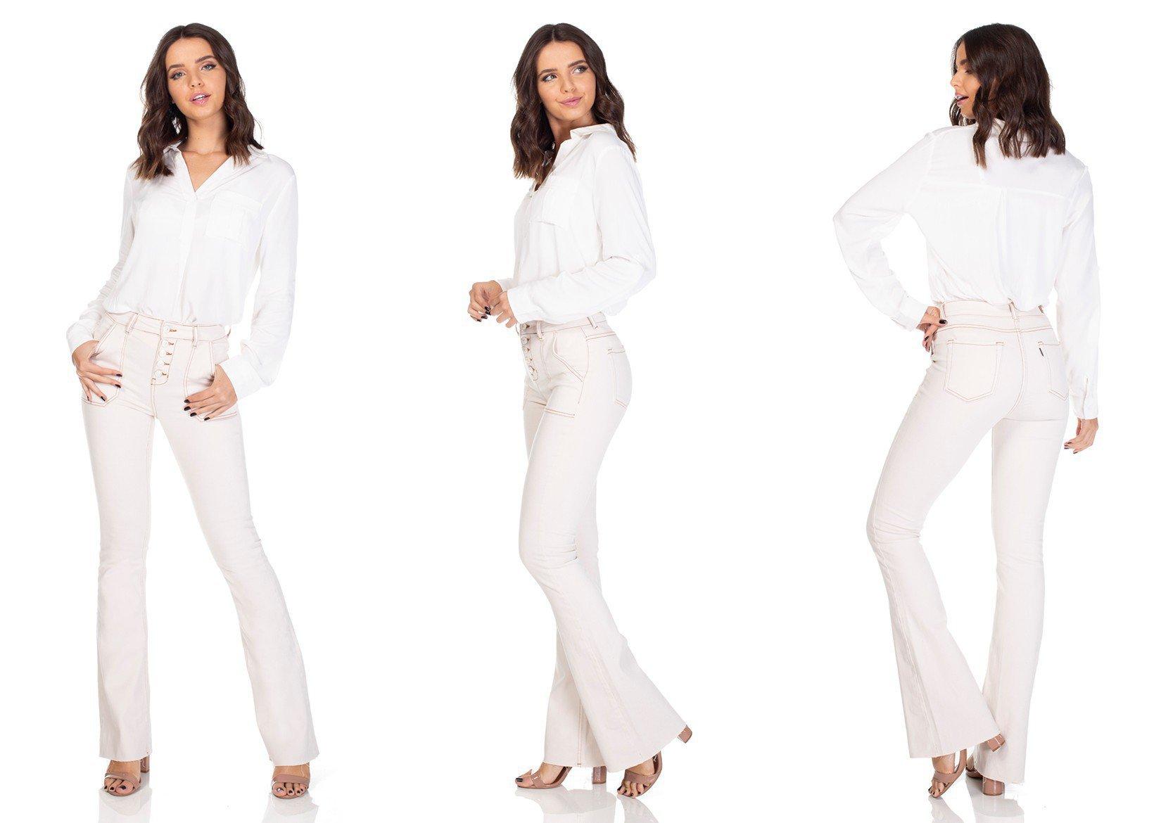 dz3117 calca jeans flare media com botoes denim zero tripla