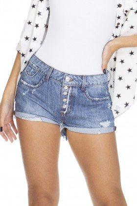 dz6307 shorts jeans young com botoes denim zero frente detalhe