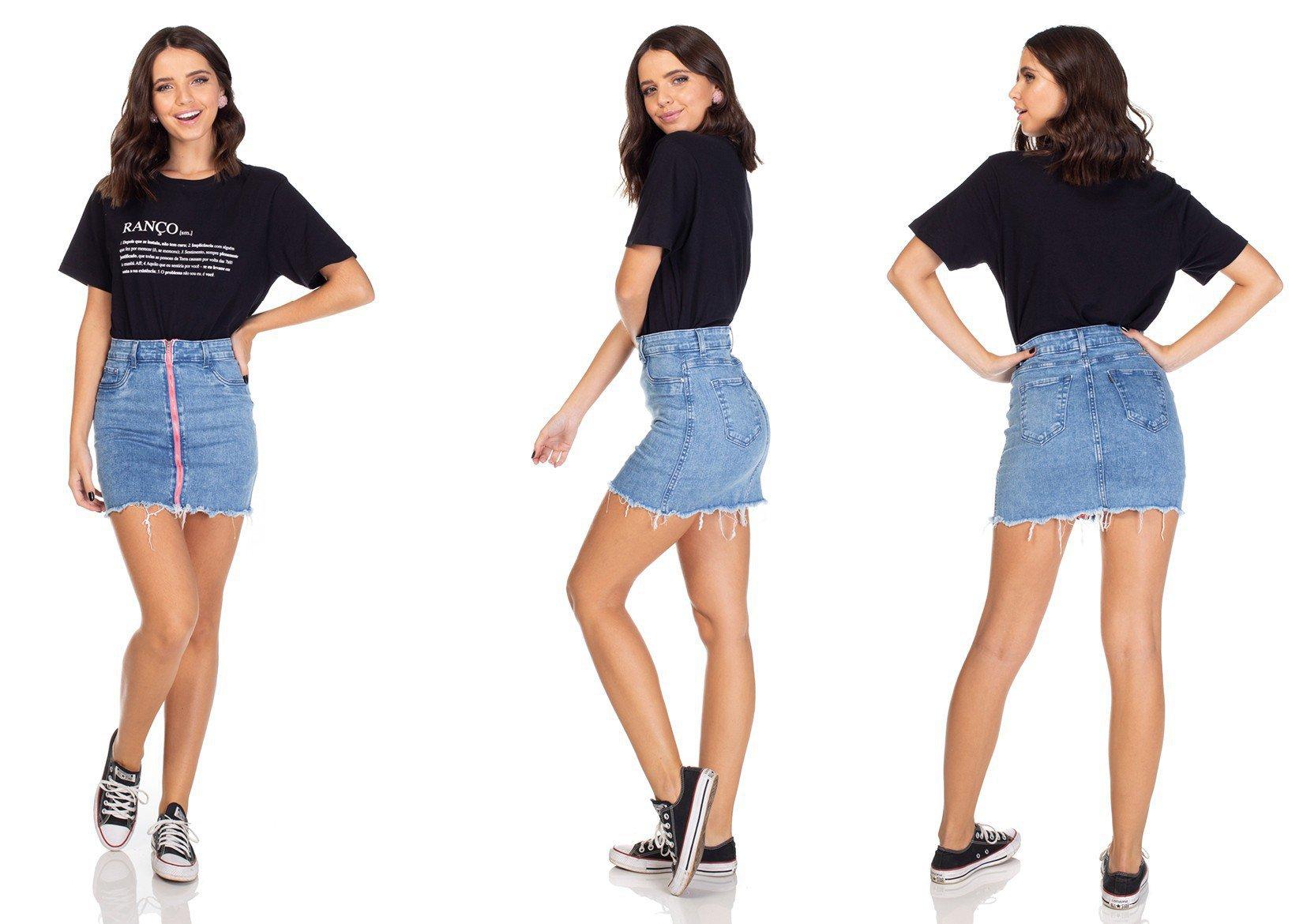 dz7100 saia jeans tubinho ziper neon denim zero tripla